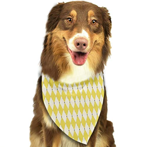 OURFASHION Fashion Yellow Harlequin Bandana Triangle Bibs Scarfs Accessories Pet Cats Puppies.Size is About 27.6x11.8 Inches (70x30cm).