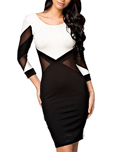 made2envy Constrast Mesh Inserts Open Back Long Sleeves Dress (M, - Gold Cut White Out