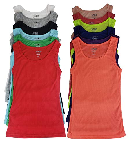 - SUMONA 3/6/12 Women's Ribbed Tanks Tops A-Shirts (S, 12 Pack Assorted)