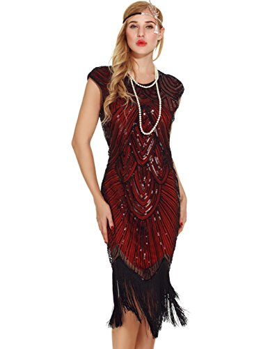 Uniq Sense Women's 1920s Flapper Dresses - Sequined Beaded Fringed Emblished Great Gatsby Dresses (M, Wine - Price Gatsby
