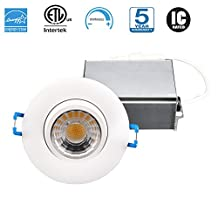 Hi-Bright 3 Inch Gimbal Recessed LED Down light,120V, 8W, 3000K, Dimmable, Warm White, 600 Lumens, CRI 80, Air-Tight, IC Rated, Energy Star, cETLus listed, 5-year warranty, Damp location, 50,000 hours, 1Pack (White)