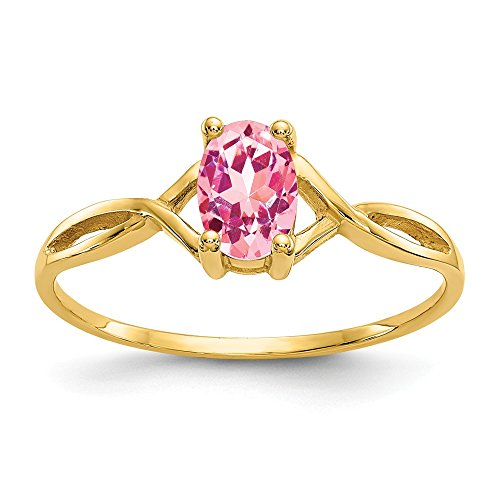 14k Yellow Gold Pink Tourmaline Birthstone Band Ring Size 7.00 Stone October Oval Fine Jewelry Gifts For Women For Her