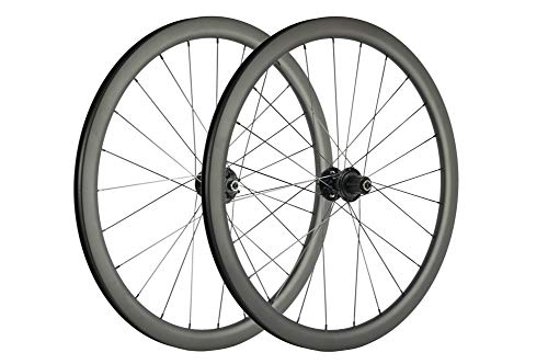 SUPERTEAM Carbon Fiber Disc Brake Wheelset 700c Road Wheel 25mm Width UD Matt 30/40/45/55mm (40mm, CX3 Hub Center Lock 12100-12142mm Thrux Axle)