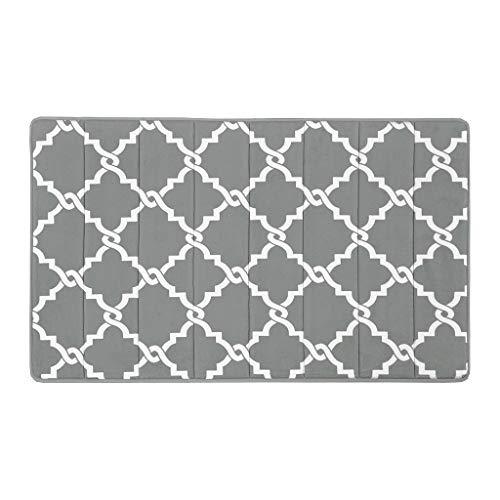 Merritt Reversible Memory Foam Bath Mat , Classic Geometric Pattern Bathroom Rugs , 20X30 inches , Grey (Merritt Bathroom Light)