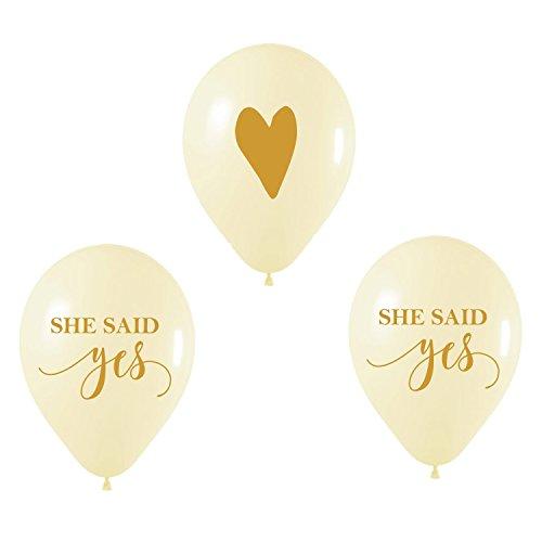 Bridal Shower Balloons, She Said Yes Balloon, Heart Balloon, Engagement Party Balloons, Engagement Photo Prop, Set of 3, Wedding Send Off Balloons, Wedding Balloons -