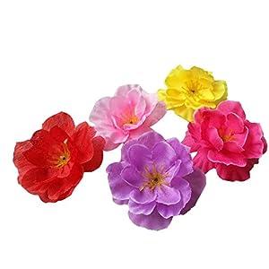 Colorfulife Artificial 4.5cm Silk Plum Blossom Peach Sakura Cherry Head Flower Heads Artificial Flowers Head Wedding Floral Supplies for Bridal Hair Clips Headbands Dress Accessories DIY Accessories 28