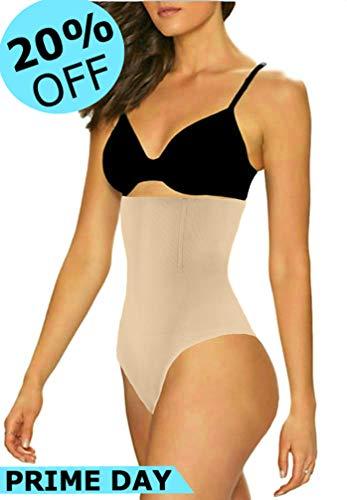 ShaperQueen 102 Best Womens Waist Cincher Body Shaper Trimmer Trainer Slimmer Girdle Faja Bodysuit Short Slip Tummy Belly Weighloss Control Brief Corset Plus Size Underwear Shapewear Thong (3XL, Nude)