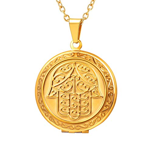 (U7 Round Photo Locket Pendant 18K Gold Rolo Chain Memorial Gift Necklace, Lucky Hamsa Hand Engraved Style)