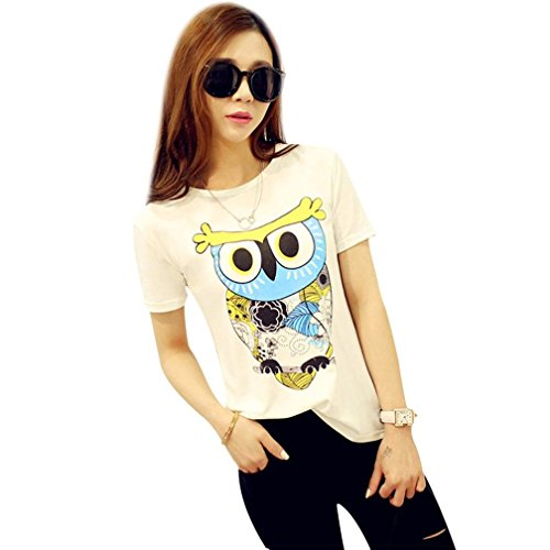 Napoo-Women Blouse Hot Sale Women Plus Size Cute Owl Printing Round Neck Short Sleeve T-Shirt Blouse Tops (2XL, White)