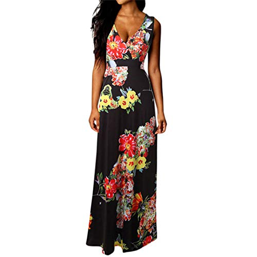 Summer Nero Cocktail Party Maxi Beach Long Abito Women Tdpyt Floreale bygvY6f7