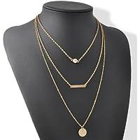 Fashion Gold Three Layer Thin Circle Long Bar Necklace Pendants Chain Jewelry