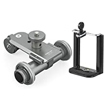 Kingjoy PPL-06 Motorized Electric 3-Wheel Video Pulley Car Dolly Rolling Slider Skater for Canon for Cannon Nikon Sony DSLR Camera + Smartphone Holder Clip for iPhone 7/7s/6/6s for Samsung Huawei