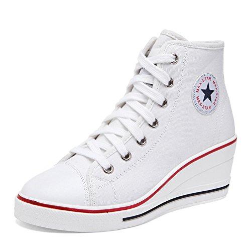 Heel Baskets Toile Sneakers Blanc Printemps Chaussures Haut Automne Rose Taille Rouge Chaussures Grande Confort Casual Chaussures Dames 43 Pour Wedge Femmes 35 Noir Extérieur 8q5T5