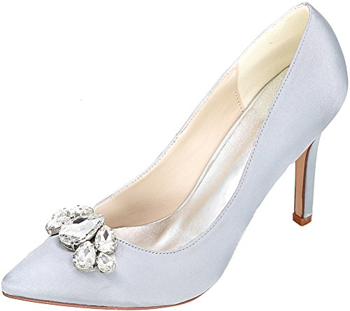 CFP 0608-01B Womens Cour Rhinestone Fashion Shoes Bride Comfort Work Wedding Job Nightclub Pointed Toe Heeled Satin Silver
