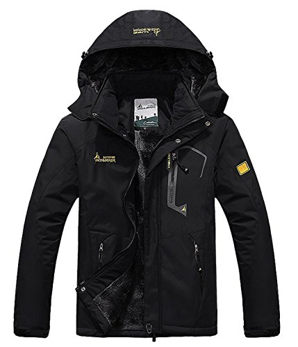 Pooluly Men's Waterproof Windproof Rain Snow Jacket Hooded Fleece Ski Coat (Black), (M)