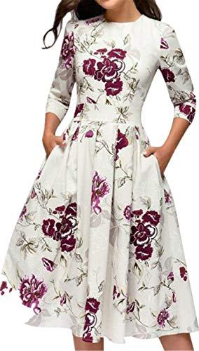 Stretch Spring Trainer Fit Cap - TIFENNY Women's Elegent A-line Vintage Printing Party Vestidos Dress Half Sleeve Round Neck New Dresses White