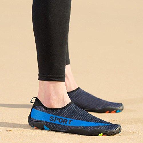 Xmansky Badeschuhe Damen Herren Schwimmschuhe Kinder Surfschuhe Barfuß Schuhe Wasserschuhe Strandschuhe Rutschfeste Neoprenschuhe Blau