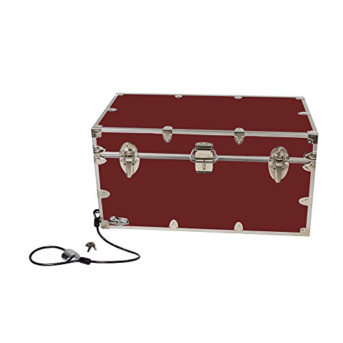 College Dorm Room & Summer Camp Lockable Trunk Footlocker with Cable Lock - Undergrad Trunk by C&N Footlockers - Available in 20 colors - Large: 32 x 18 x 16.5 - West Stores Clothing Key