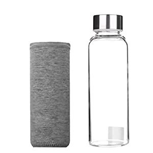 Dolity Glass Water Bottles Stainless Steel Cap with Protective Sleeve - Pink, Green, Gray, Navy Blue - gray, 17.5x5 cm