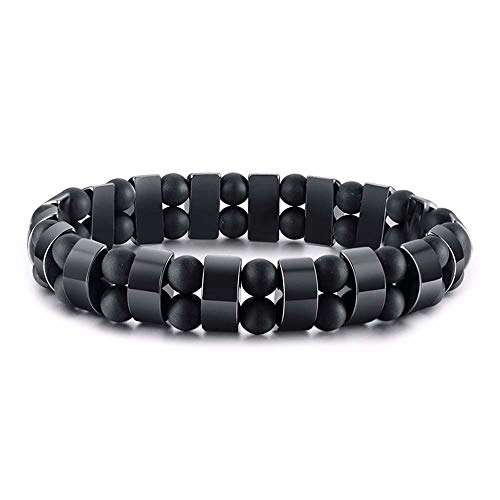 WeBuyNow Stretch Mens Black Bracelets Hematite Tiger Eye Beads Bracelets Casual Hombre Wristband Black ()