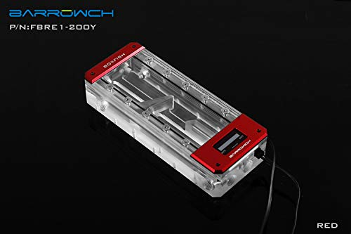 Barrowch 200mm Boxfish Series Acrylic Box Reservoir with OLED Display & D-RGB LED - Red by Barrowch