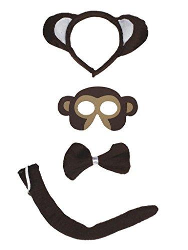 [Petitebella Monkey Headband Mask Bowtie Tail 4pc Costume for Child (One Size)] (Child Monkey Costumes)