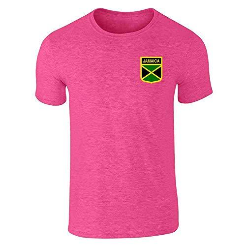 (Jamaica Soccer Retro National Team Heather Pink M Short Sleeve T-Shirt)