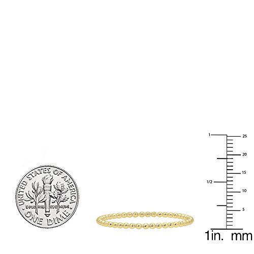 14K Yellow Gold Beaded Style Ladies Ball Chain Design Wedding Band (Size 8) by DazzlingRock Collection (Image #4)