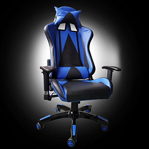 41rzb79SqcL - Video Gaming Chair Executive Swivel Racing Style High-Back Office Chair Lumbar Support Ergonomic With Headrest - Blue