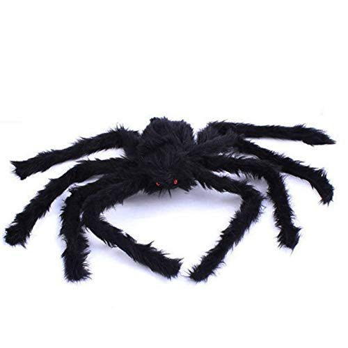 WISREMT Halloween Decorations Props Spider, 5FT (60 INCH) Giant Hairy Fake Black Spider Props for Outdoor Garden Patio Halloween Party Decor (1 Pack)