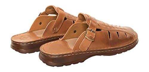 Herren Bequeme Sandalen Schuhe Mit Der Orthopadischen Einlage Aus Echtem Buffelleder Hausschuhe Modell 801 Braun