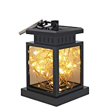 Christmas Solar Lights, Businda Solar Lanterns Outdoor Hanging Light Waterproof LED Flashing Star Candle Landscape Projector Lamp for Xmas Halloween Party Table,Outdoor, Garden, Indoor Decor