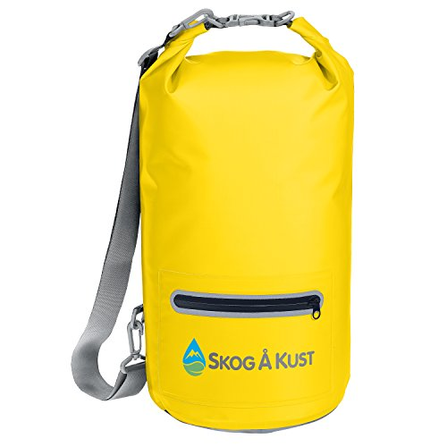DrySak Premium Waterproof Dry Bag with Exterior Zip Pocket | Keeps Gear Safe & Dry During Watersports & Outdoor Activities | Rugged 500D PVC with Shoulder Strap & Reflective Trim | 10L Yellow