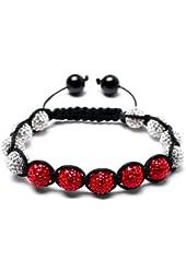 White Cherry Shamballa Bracelet | Red & White Disco Ball bracelet | Red CZ Bangle Bracelet (by BAGATI CRYSTO)