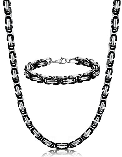 ORAZIO+8MM+Stainless+Steel+Byzantine+Chain+Bracelet+for+Men+Necklace+Jewelry+Set%2C+8.5%22+22-30+Inches