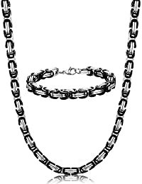 ORAZIO 8MM Stainless Steel Byzantine Chain Bracelet for...