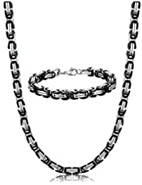 "ORAZIO 8MM Stainless Steel Byzantine Chain Bracelet for Men Necklace Jewelry Set, 8.5"" 22-30 Inches"