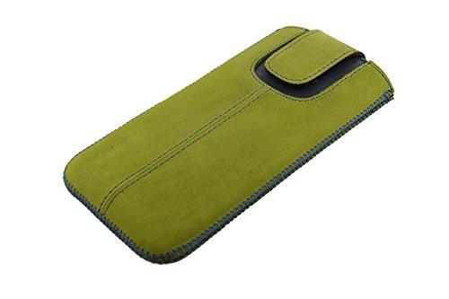 OrLine Etui Case Lederetui für Apple Iphone SE Echt Leder Case Ledertasche Tasche Lederetui mit Magnetverschluss in der Farbe grün/blau Handarbeit