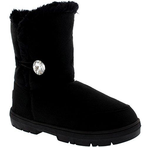 Mujer One Diamond Button Short Fur Lined Impermeable Invierno Rain Nieve Botas Negro