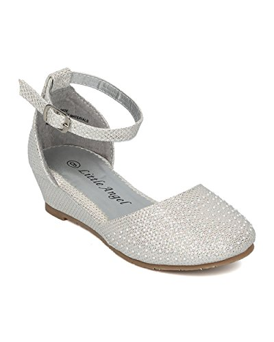 Girls Glitter Beaded Wedge Heel (Toddler/Little/Big Girl) - D'Orsay Ankle Strap - Dressy Formal Occasion Wedding Recital Dress - HC31 by Little Angel Collection - Off White (Size: Toddler 10)