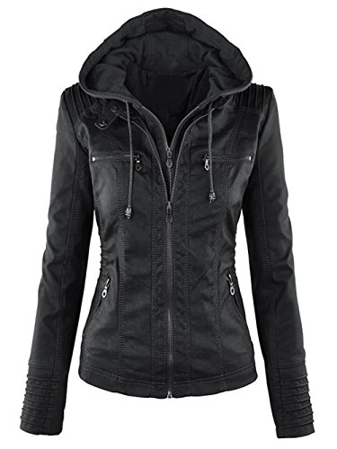 hooded faux leather jacket - 9