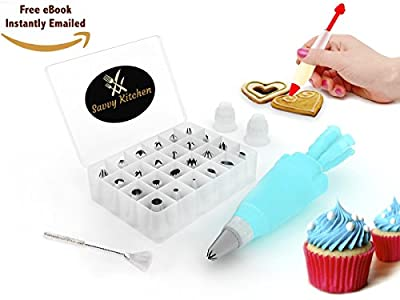 BEST DEAL - 24 in 1 Cake Decorating Kit - Icing Tip Set Tools with FREE DECORATING PEN & eBOOK - Includes Storage Case + BONUS Cleaning Brush & Reusable Silicone Icing Bag - With 2 Couplers