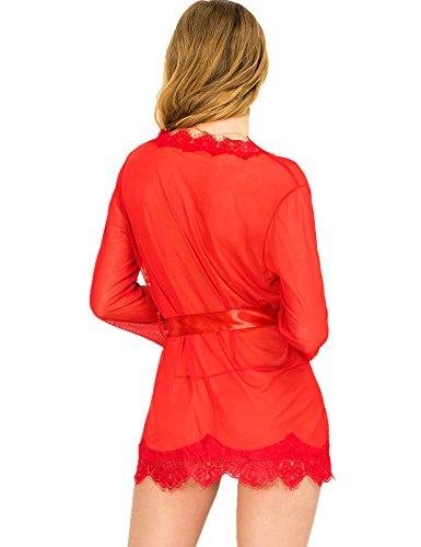 Ohyeah Nightie de la mujer Sheer corto Túnica transparente encaje ropa de dormir Rojo