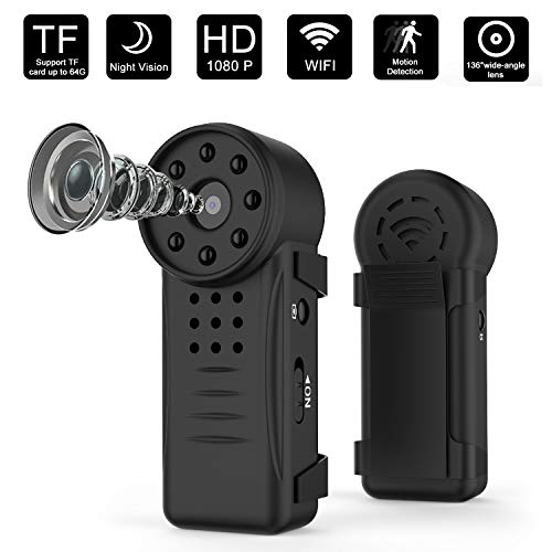 Mini Hidden Portable Camera,Mini Wireless Spy Camera True Hardware 1080P HD WiFi Spy Camera ? 8 Night Vision Lights Wireless Home Security Camera with Motion Detection Body Camera Wireless Nanny Cam