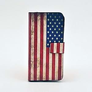 Patrón de la bandera nos vendimia cuerpo completo del caso del tpu de cuero para iphone 5c