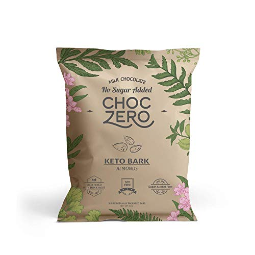 ChocZero's Keto Bark, Milk Chocolate Almonds, 100% Stone-Ground, No Added Sugar, Low Carb, No Sugar Alcohols, Non-GMO (2 boxes, 6 bars/each)