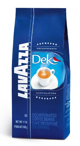Lavazza Dek Whole Bean Coffee Blend, Decaffeinated Dark Espresso Roast, 1.1-Pound Bag