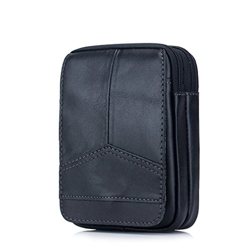 KUAISUF Waist Packs Genuine Leather Vintage Travel Cell Phone Bag Waist Bag Small Waist Bags Fanny Pack Belt Bag black by KUAISUF