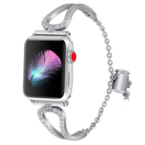 Women Adjustable Watch Bracelet Compatible for Apple Watch Series 4 3 2 1 42/44mm, 2019hoho Stainless Steel Rhinestone Jewelry Bangle Cuff for Apple Watch Series 4 3 2 1 Smart Watch, 2019hoho 42/44mm