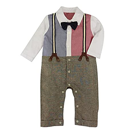 Jumpsuit Suit Set for Baby Boy Toddler Long Sleeve Outfits with Strap & Bowtie - Jumpsuit Coat